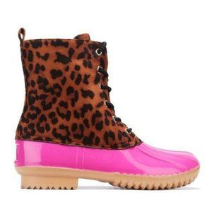 Pink Leopard Lace-up Faux Leather Duck Boots